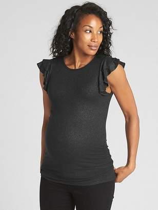 Gap Maternity Metallic Ribbed Ruffle Sleeve Top