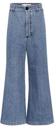 Marni High-waisted denim culottes
