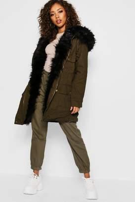 boohoo Faux Fur Lined Parka