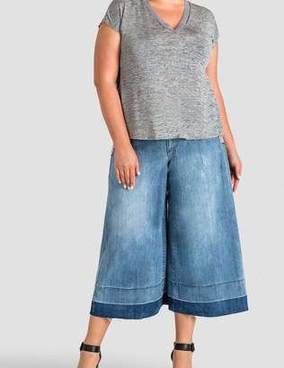 Standards & Practices Bobbie Raw Unraveled Hem Aline Culotte Pants in Blue Size 20R