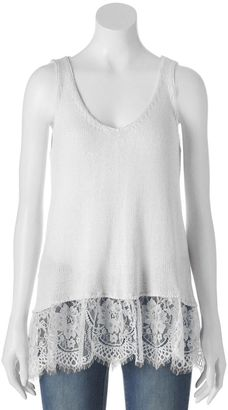 Juniors' Cloud Chaser Lace Sweater Tank $36 thestylecure.com