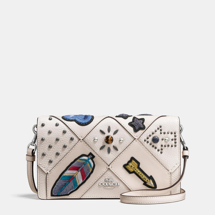 Coach  COACH Coach Foldover Crossbody In Embellished Canyon Quilt Leather