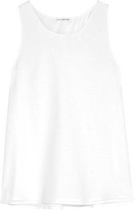 James Perse - Stretch-cotton And Silk-blend Voile Wrap-effect Top - White $155 thestylecure.com