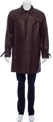 Bottega Veneta Button-Up Leather Coat