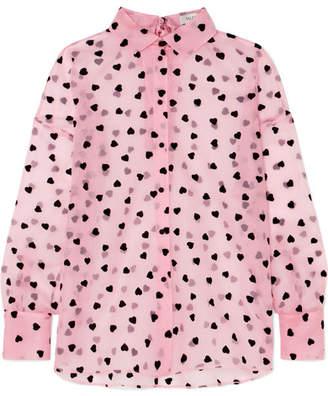 Valentino Flocked Silk-organza Shirt - Pink