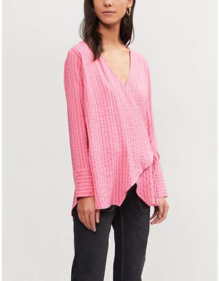 Ganni Lynch striped seersucker blouse