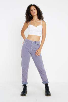BDG Lilac Acid Wash Corduroy Mom Jeans - purple 29W 30L at Urban Outfitters