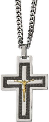FINE JEWELRY Mens Cubic Zirconia Stainless Steel Reverse Crucifix Pendant