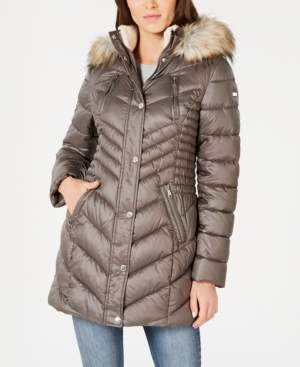 Laundry by Shelli Segal Chevron Puffer Coat