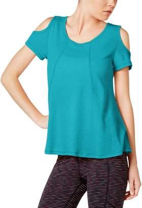 Calvin Klein Womens Cold Shoulder Scoop Neck Pullover Top Blue XL