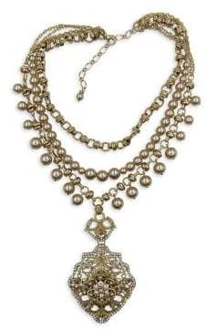 Badgley Mischka Belle by Fairytale Crystal and Faux Pearl Pendant Necklace