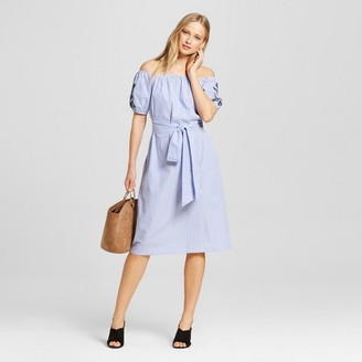 Who What Wear Women's Embroidered Belted Bardot Dress - Who What Wear $34.99 thestylecure.com