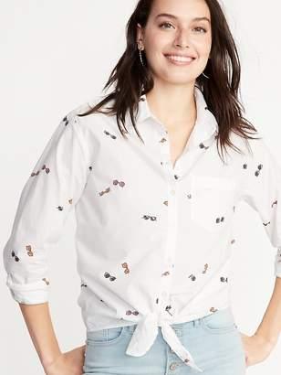 Old Navy Sunglass-Print Tie-Hem Shirt for Women