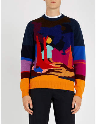 Paul Smith Abstract intarsia-knit wool-blend jumper