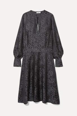 Equipment Magnolia Open-back Silk-blend Jacquard Midi Dress - Leopard print