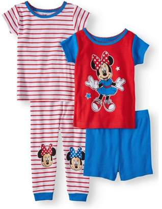 Baby Girls' Minnie Mouse Cotton Tight Fit Pajamas, 4-Piece Set