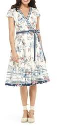 Gal Meets Glam Teresa Floral & Stripe Cotton Wrap Dress