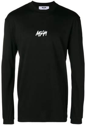 MSGM mini logo print long sleeve top