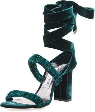 Jimmy Choo Marcella Velvet Ankle-Wrap Sandals, Green