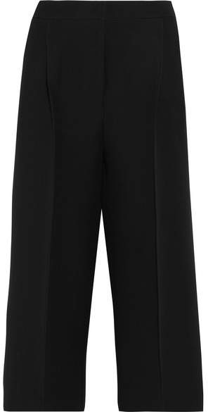 Fendi - Cropped Wool And Silk-blend Crepe Wide-leg Pants - Black