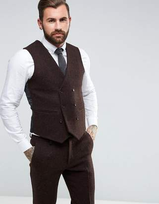 Asos Design Slim Suit Waistcoat In 100% Wool Harris Tweed Herringbone In Brown