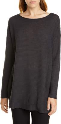 Eileen Fisher Bateau Neck Organic Linen & Cotton Tunic Sweater