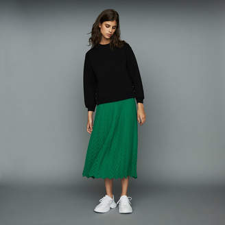 Maje Long pleated chevron skirt