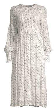 Ganni Rometty Polka Dot Georgette Midi Dress