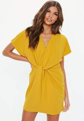 Missguided Mustard Yellow Knot Front Shift Dress