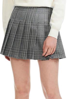 Maje Jalaime Plaid Pleated Mini Skirt