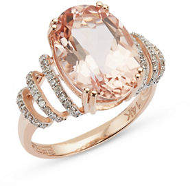 Effy 14K Rose Gold Morganite and Diamond Ring
