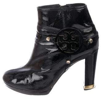 Tory Burch Patent Leather Round-Toe Ankle Boots