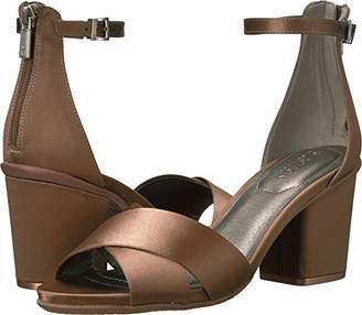 Kenneth Cole Reaction Women's Reed Forever Two Piece Strappy Sandal with Ankle Strap and Block Heel-Satin Dress