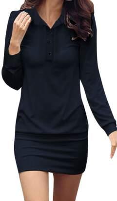 Allegra K Women's Point Collar Button Upper Long Sleeves Mini Dress XS