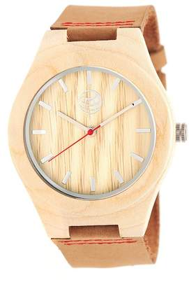 Earth Wood Aztec Leather Strap Wood Watch, 43mm