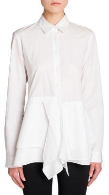Jil Sander Benedetta Flare Poplin Shirt $570 thestylecure.com