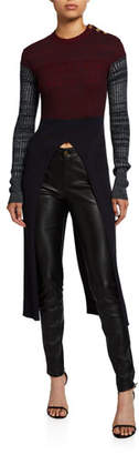 Chloé Wool Colorblocked Sweater w/ Slit Front