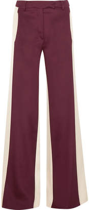 Valentino Silk-satin Wide-leg Pants - Burgundy