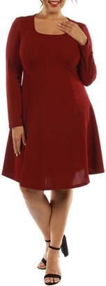 24/7 Comfort Apparel Temptress A-Line Dress-Plus