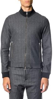 Low Brand Tone On Tone Striped Wool Cardigan