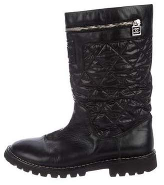 Chanel CC Quilted Leather Mid-Calf Boots