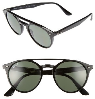 Women's Ray-Ban 51Mm Polarized Round Sunglasses - Black/ Polar $185 thestylecure.com