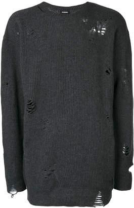 Diesel distressed long rib knit sweater