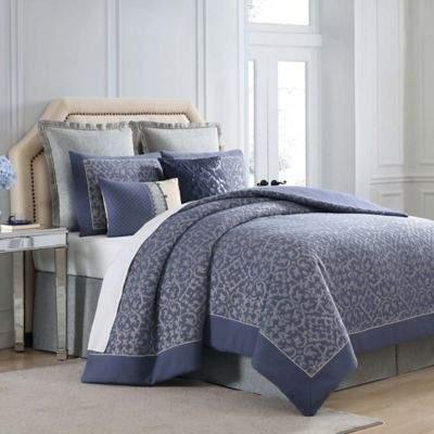 Charisma Villa Queen Duvet Cover Set in Blue/Silver