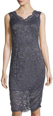 Marina Sleeveless Lace Sheath Dress, Gunmetal $99 thestylecure.com