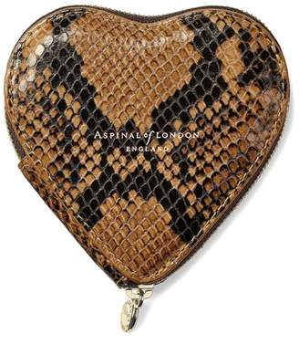Aspinal of London Heart Coin Purse In Mustard Python Print