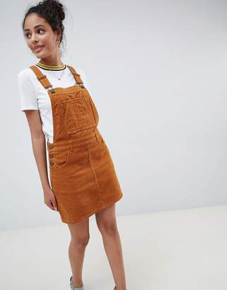 Miss Selfridge cord pinafore dress in light brown