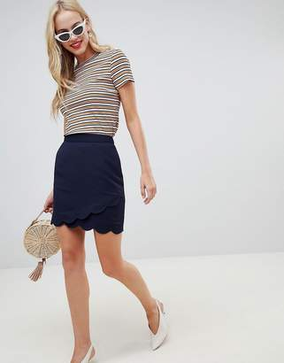 Oasis a line mini skirt with scallop detail in navy
