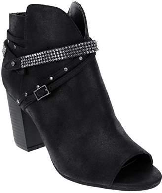 Rampage Women's Meera Peep Toe Rhinestone Glitz Buckle Strap Block Heel Bootie Ankle Boot