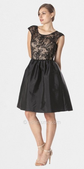 JS Boutique Black Lace Bodice Cocktail Dress